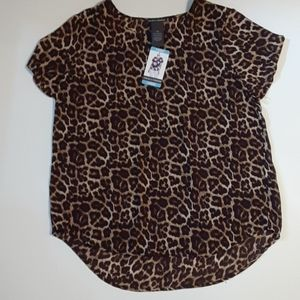 CHELSEA & THEODORE LEOPARD PRINT TOP NWT